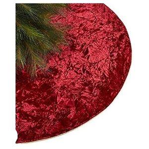Holiday Lane Crushed Velvet Red Tree Skirt